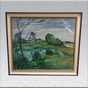 Hans Jacoby: Landschaft mit See Ölgemälde, gerahmt, 65 cm x 75 cm, 1150,- €