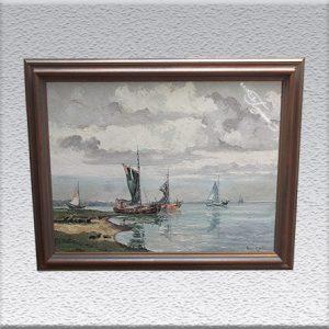 """Hans Hentschke: """"Morgen bei Greetsiel"""" Ölgemälde, gerahmt, 74 cm x 94 cm, 920,- €"""