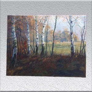Fritz Stark: Waldrand mit Birken Ölgemälde, ungerahmt, 60 cm x 80 cm, 880,- €