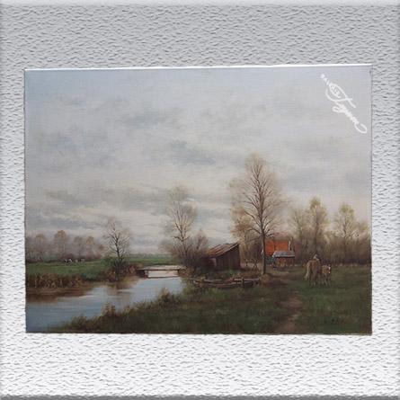 Peter Motz: Landschaft mit Pferden Ölgemälde, ungerahmt, 60 cm x 80 cm, 580,- €
