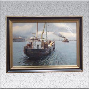 "Feindahl ? (unl. signiert): ""Forelle Altenwerder"" Ölgemälde, gerahmt, 75 cm x 105 cm, 1580,- €"