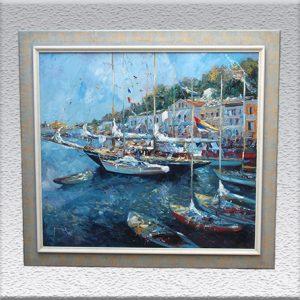 Christian Jereczek : Yachthafen Ischia Ölgemälde, gerahmt, 97 cm x 107 cm, (Vergolderrahmen), 5800,- €