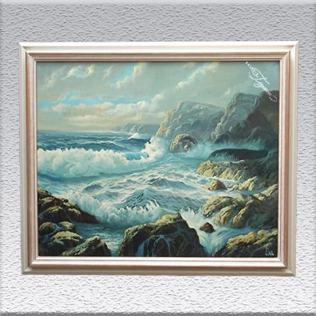 Monogrammist – Nordspanischer Maler: Nordspanische Küste Ölgemälde, gerahmt, 86 cm x 105 cm, 1790,- €