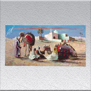 Gerhard Merfort: Araber mit Kamelen Ölgemälde, ungerahmt, 50 cm x 100 cm, 850,- €