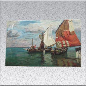 W. Gerock: Venezianische Segelboote Ölgemälde, ungerahmt, 60 cm x 100 cm, 490,- €
