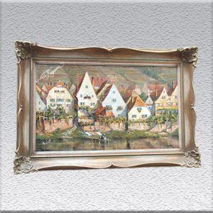 unleserlich signiert: Häuserzeile (an der Mosel?) Ölgemälde, gerahmt, mit Barockrahmen, 96 cm x 79 cm, 890,- €