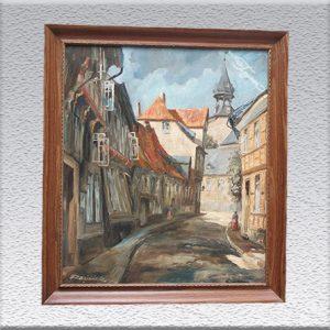 Razilack ? (unleserlich signiert): Goslar-Schlüchtegasse Ölgemälde, altgerahmt, 73 cm x 63 cm, 399,- €