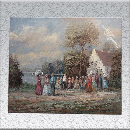 Chr. Stemmeler, Schloßcafe` Ölgemälde, ungerahmt, 50 x 60 cm 950,- €
