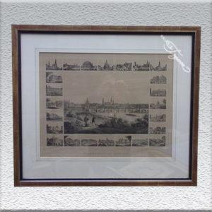 """Alte Lithografie: """"Erinnerung an Dresden"""", um 1850, gerahmt mit Echtgold-Leiste"""