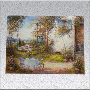 * Neu * Janez I. Knez: meditarrane Sommerterrasse, Ölgemälde, ungerahmt, 60 x 80 cm 680,- €