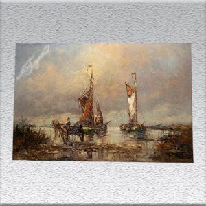 Stockhowe: Plattbodenschiffe Ölgemälde, ungerahmt, 60 x 90 cm, 490,- €